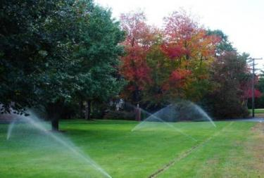 new in ground irrigation system in a park in Desoto Texas